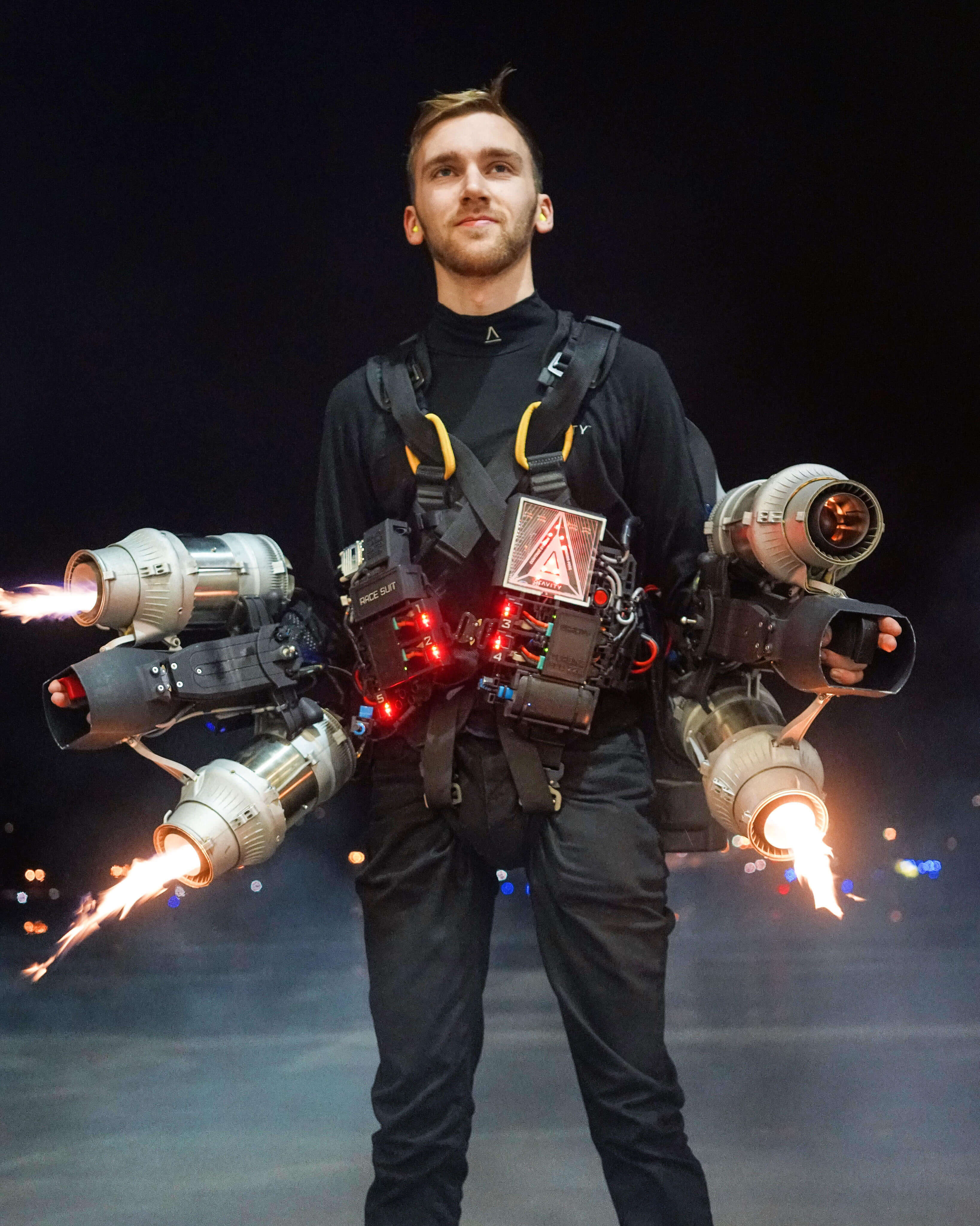 Sam Rogers, founder of AX wearing the Gravity Jet Suit